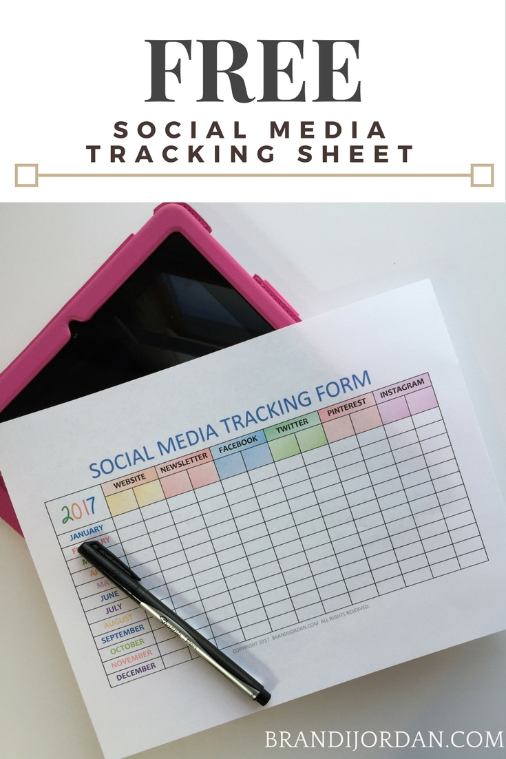 FREE SOCIAL MEDIA TRACKING SHEET FOR BLOGGERS - BRANDIJORDAN.COM