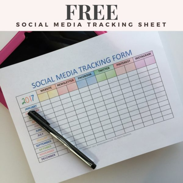 FREE SOCIAL MEDIA TRACKING SHEET - BrandiJordan.com