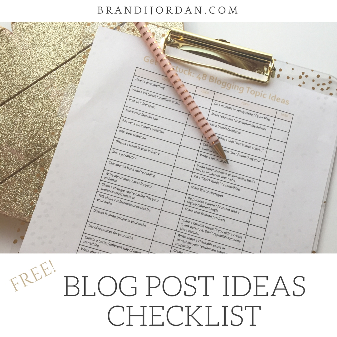 FREE Printable List of 48 Blogging Topic Ideas to Get You Started